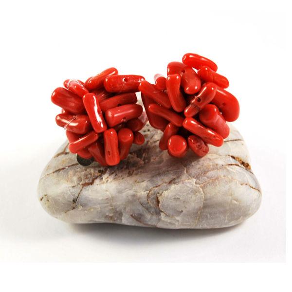 Pendientes clip coral.